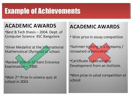 Accomplishments Resume Sample by Academic Achievements For Resume 960