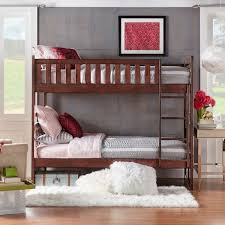 Hunter Traditional Dark Cherry Wood Bunk Bed And Trundle By - Wooden bunk bed with trundle
