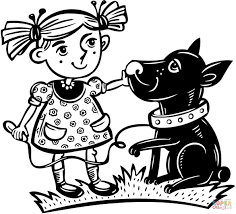 with her pet dog coloring page free printable coloring pages