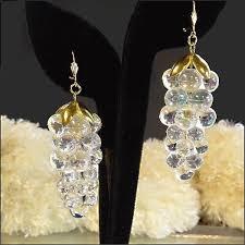 1970s earrings big clear grape cluster vintage earrings 1970s jewelry 30