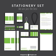 stationery set business stationery set with green stripes vector premium