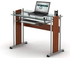 glass top computer desk amazon com tempered clear glass top computer desk with pull out