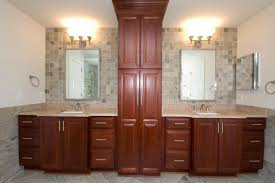 and her vanities with linen cabinet