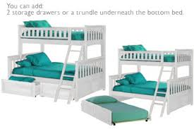 Bunk Bed With Sofa by Kids Wood Bunk Bed With Trundle Ginger White Bunkbed The Futon Shop
