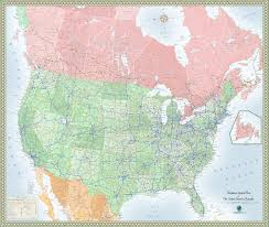 combined map of usa and canada usa and canada highway wall map maps