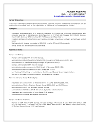 Linux Administrator Resume 1 Year Experience Resume Akash Storage Admin