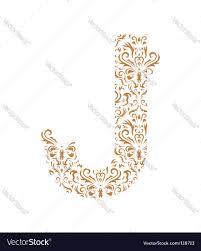 floral letter j ornament font royalty free vector image