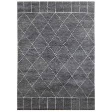 Modern Pattern Rugs by Jaipur Hand Knotted Charcoal Slate Antique White Modern Pattern