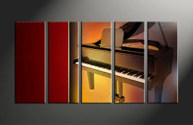 Home Decor Canvas Art by 5 Piece Music Brown Piano Large Canvas