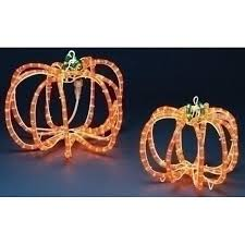 set of 2 pre lit rope lighted 3 d outdoor pumpkin