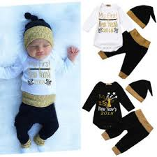 new year s tops newborn infant baby boy girl letter romper tops hat new year