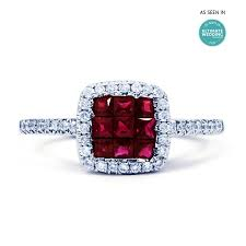 ruby diamond ring mai 18ct white gold ruby and diamond halo cluster ring diamond