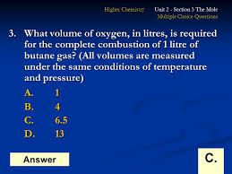 higher chemistry unit 1 section 5 the mole multiple choice