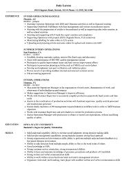 intern operations resume samples velvet jobs