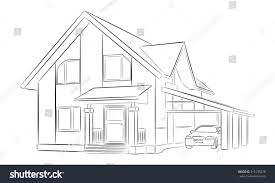 House With Carport Sketch Private House Two Floors Carport Stock Vector 315135278