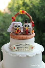 fall wedding cake toppers owl cake topper with wedding arch brick patio base and banner for