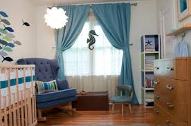 Boy Nursery Curtains Blue Themes Baby Boy Room Ideas With Tufted Blue Rocking