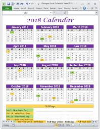 georges excel calendar year 2018 products