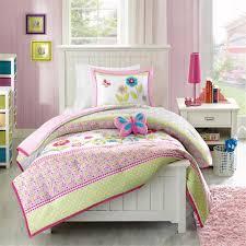 girls pink and green bedding amazon com mizone kids spring bloom 3 piece comforter set