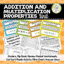 properties of addition and multiplication unit posters worksheets