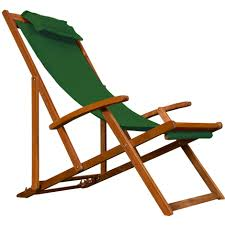chaise pliante de plage chaise cing plage pliante en bois tissu assise verte coussin amovible