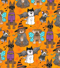 cotton quilt fabric halloween dog costume party pets puppies