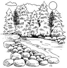 How To Draw Landscapes by How To Draw A Mountain Stream How To Draw A Mountain Stream