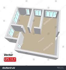 modern isometric cottage interior isometric open stock vector
