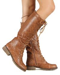 womens brown knee high boots size 11 shoes nature ac75 leatherette lace up knee