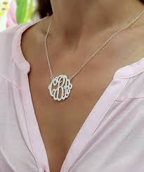 sterling monogram necklace monogram necklace 1 25 inch personalized necklace for