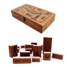 17 styles diy making memories stamps vintage wooden rubber ink pad