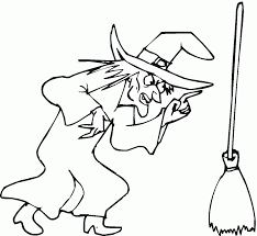 coloring pages of witches on a broom coloring home