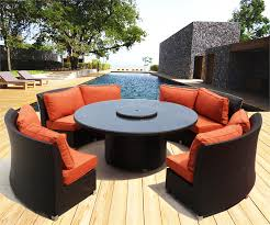cassandra round outdoor wicker dining sofa set patio furniture