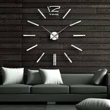 40 inch modern 3d mirror wall clock diy room home decor bell cool