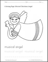 musical christmas angel coloring student handouts