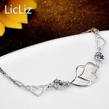 sterling silver love heart bracelet images Licliz 925 sterling silver love heart bracelet cubic zirconia hand jpg
