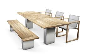 Dining Table Teak Contemporary Dining Table Glass Slate Teak Doble By