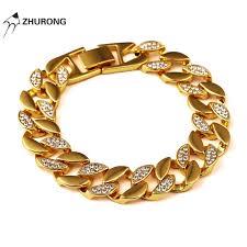 crystal link bracelet images Fashion men cuban chain bracelet crystal design punk filling jpg