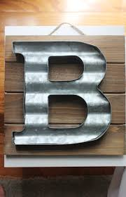 initial home decor large metal letter corrugated zinc steel initial home room decor diy