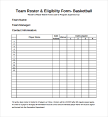 sample sports roster template 7 free documents download in pdf