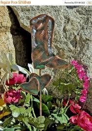 Sheet Metal Garden Art - cowboy western boot metal garden art copper art mini garden