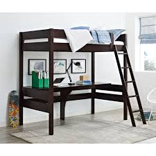Bunk Bed Computer Desk Dorel Living Harlan Wood Loft Bed With Desk Espresso