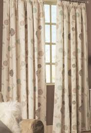 Lined Curtains Ross Lined Curtains Floral Flowers Allium Leaves Ready Made Pair