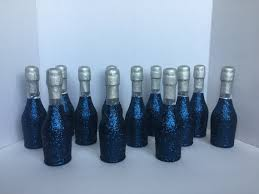 Blue Favors by Glitter Mini Chagne Bottles Navy Blue And Silver Wedding