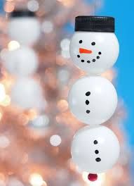 the tiny funnel ping pong snowmen ornaments