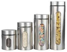 Stainless Steel Canister Sets Kitchen Amazon Com Home Basics 4 Piece Stainless Steel Canister Set With