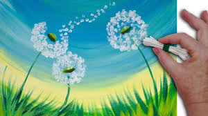 spring painting ideas dandelion cotton swabs painting technique for beginners easy
