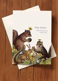 happy birthday squirrel 5x7 greeting card p flynn design