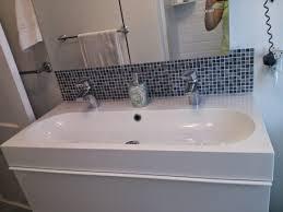 Bathroom Elegant Trough Bathroom Sink With Two Faucets Nu - Bathroom sink backsplash