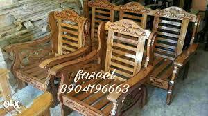 Pure Burma Singapuri Teak Wood Sofa Set Without Cushion - Teak wood sofa sets